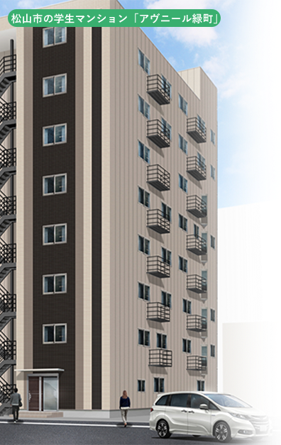 松山市の学生マンション「アヴニール緑町」